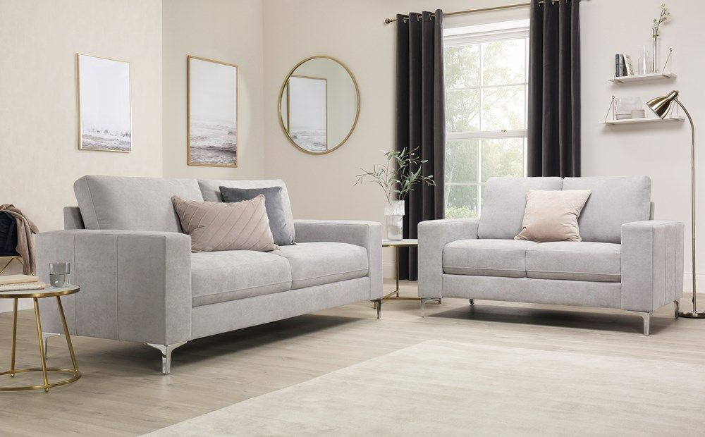 Baltimore Dove Grey Plush Fabric 3 2 Seater Sofa Set Furniture Choice Grey Fabric Sofa Sofa Set