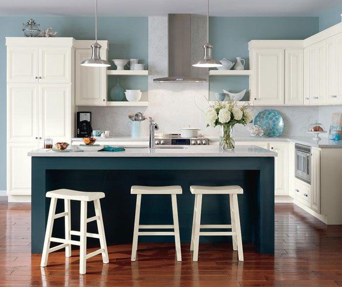 Alpine white glazed cabinets with Cadet blue kitchen