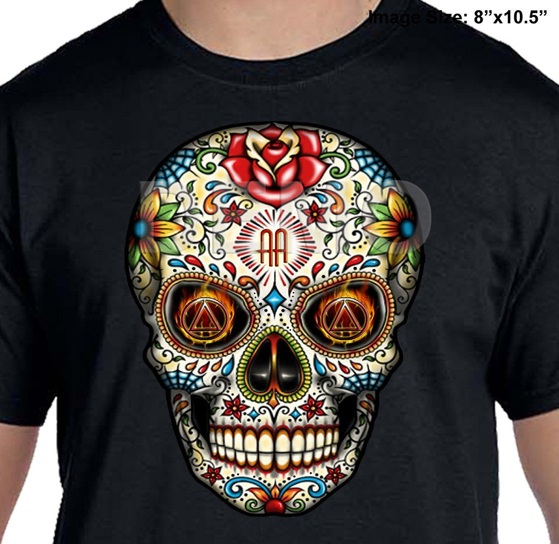 INVERTED SUGAR SKULL Narcotics Anonymous Graphic T-shirt  S-4X