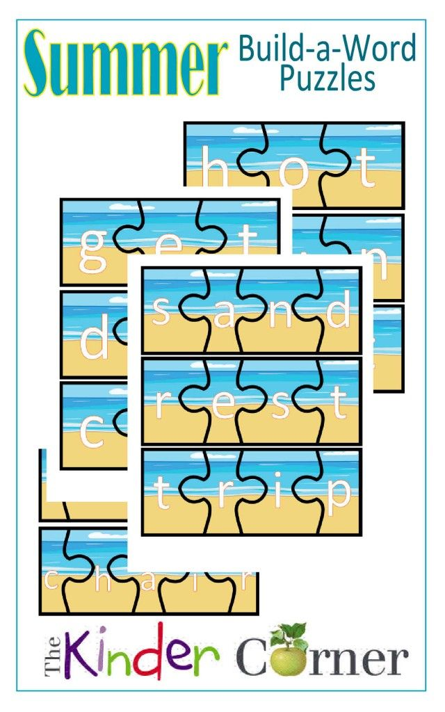 Summer Build-a-Word Puzzles | Curriculum, Literacy and Word work