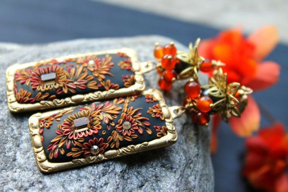 Black Red and Gold clay floral gold earrings with Carnelian and Pearl  -Vintage Brass Lotus and ornate frame earrings -  Autumn Dusk