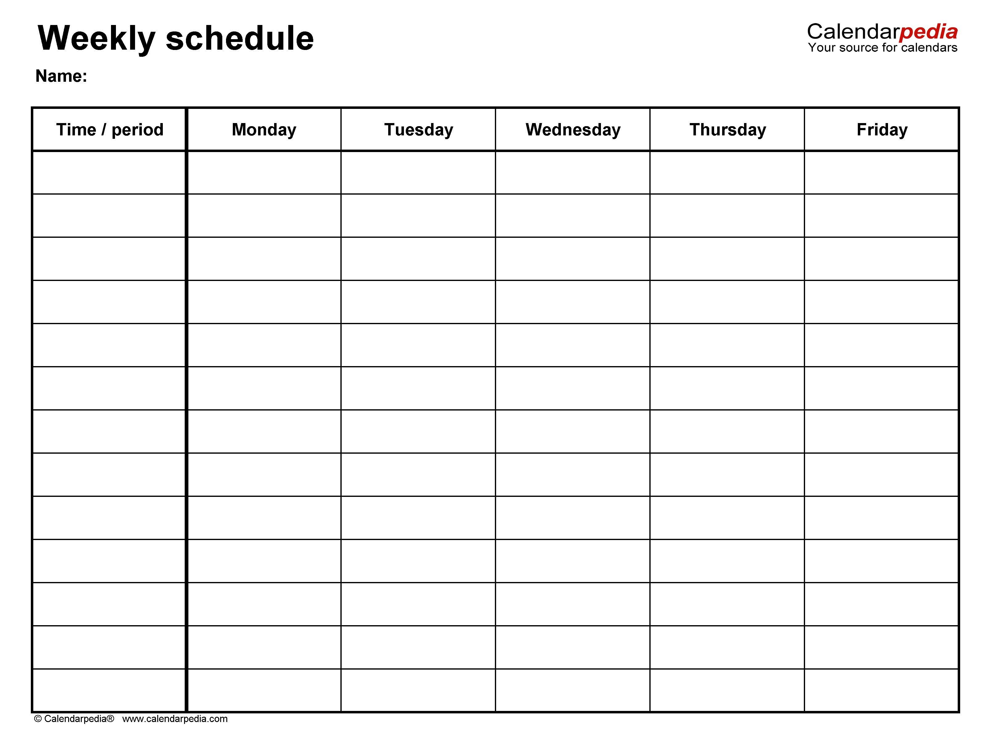 The Monday Friday Calendar Template Printable Buku Tulis Buku Tulisan