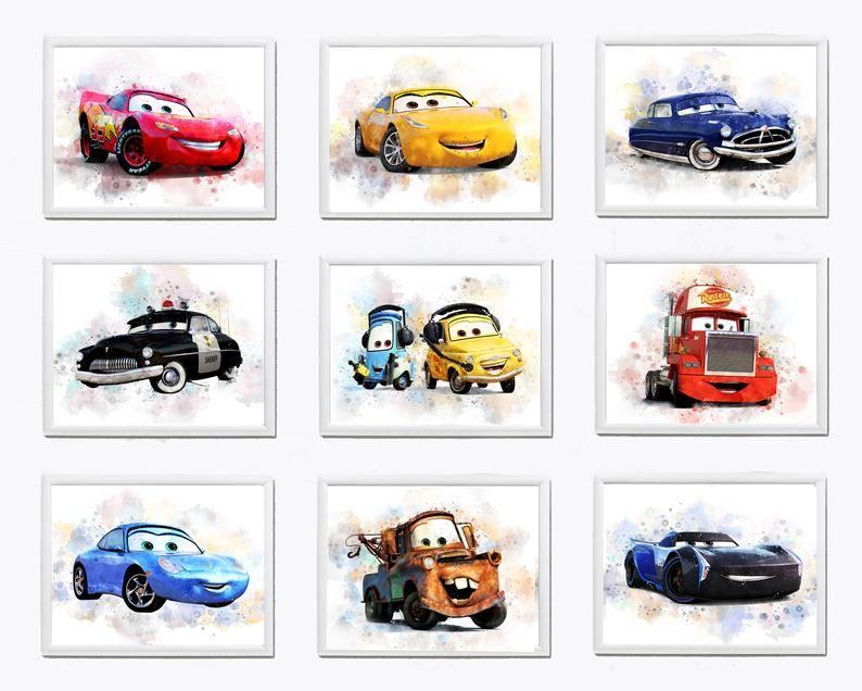 Set 9 Disney Cars Printable Art Watercolor Disney Cars Print Etsy Car Wall Art Watercolor Disney Car Prints