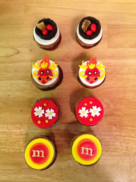 Chinese new year mini cupcake toppers on Etsy, $24.00