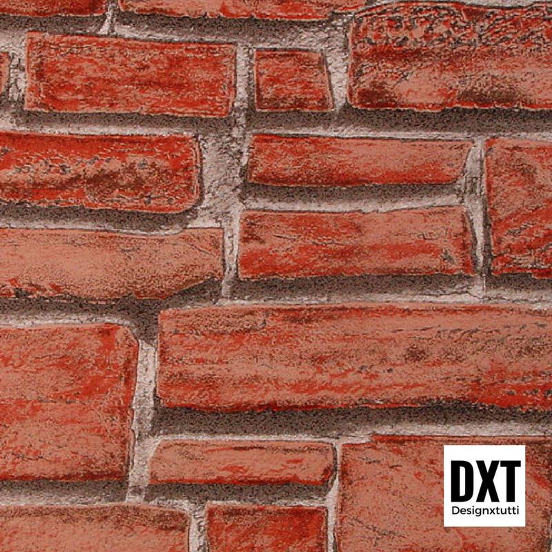 Carta da parati effetto muro rosso english style scoprila for Carta da parati effetto muro mattoni