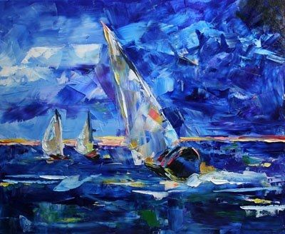 Sailboat Racing | Racing the Storm Sailboat Painting by Laurie Pace, original painting ...
