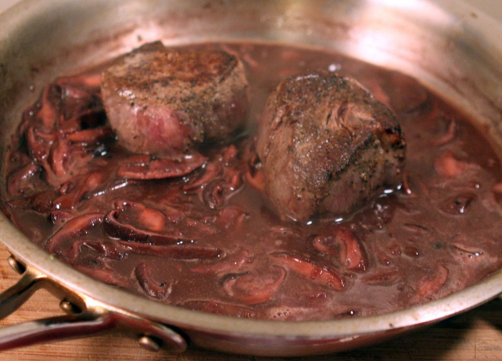 Filet Mignon with a Shiitake, Red Wine & Shallot Sauce and Me in a Towel @ MouthFromTheSouth.com