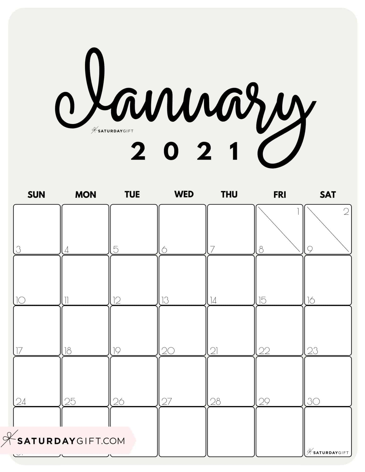 Cute Free Printable January 2021 Calendar Saturdaygift In 2020 Calendar Printables Vertical Calendar 2021 Calendar
