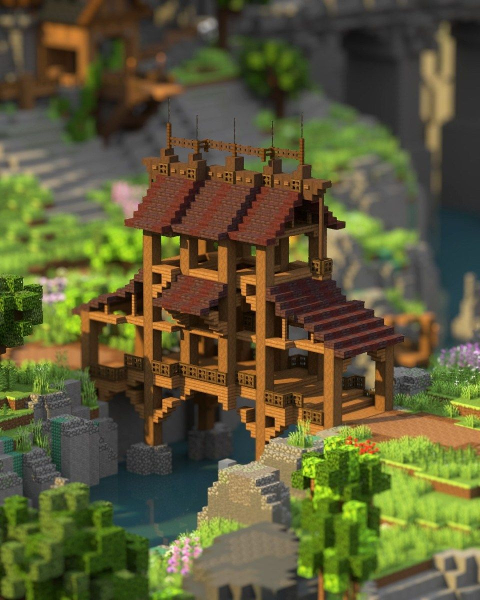 Puente Madera minecraft Cute minecraft houses Minecraft ar