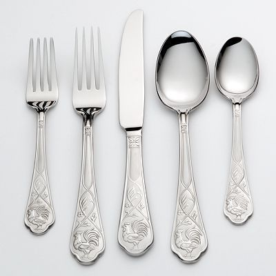 Cambridge 20 Pc. Rooster Flatware Set Pattern Code CBSROO Rooster Stainless  By Cambridge