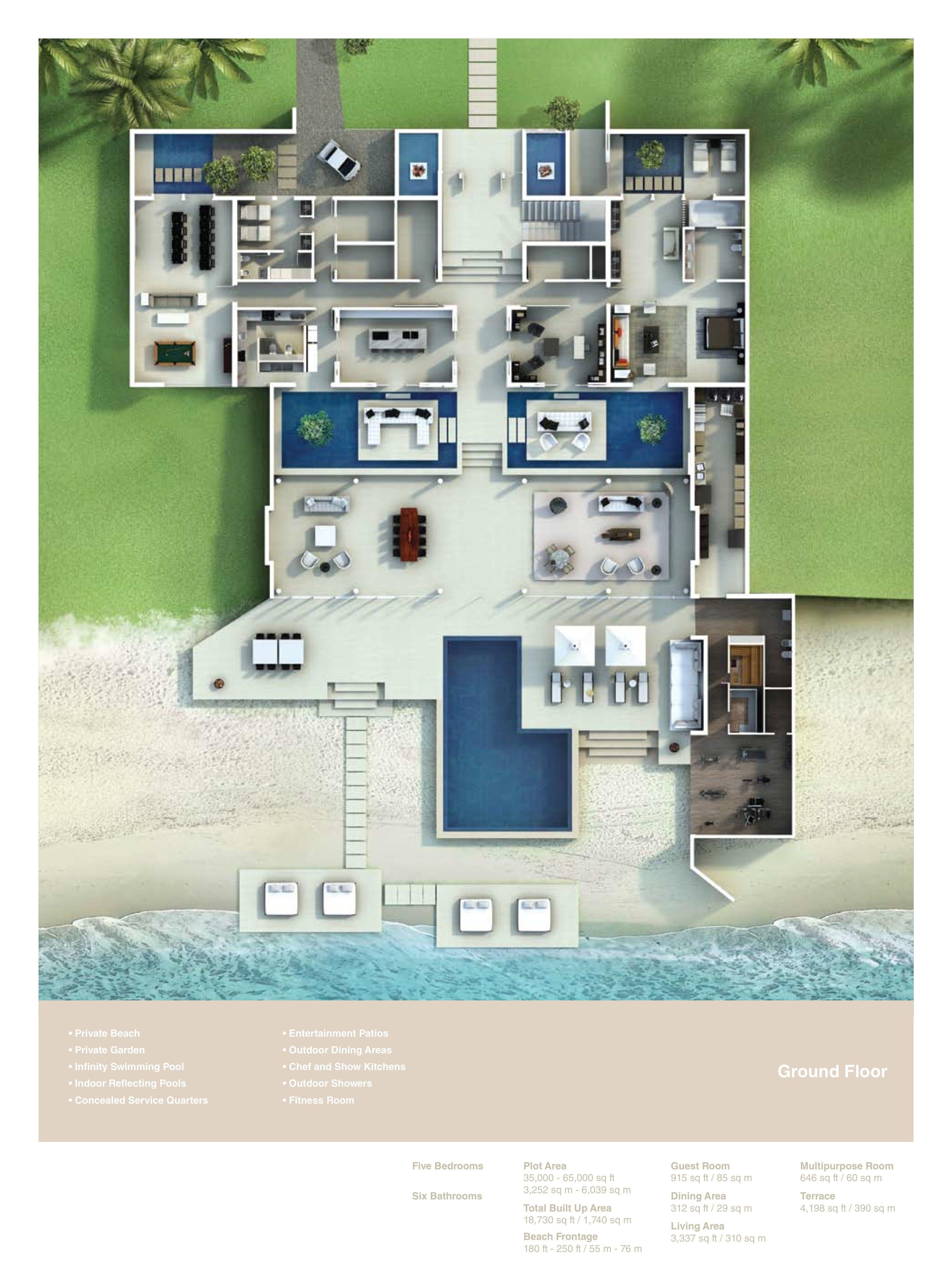 Nurai Beachfront Estate Villa Floor Plans Nurai Island Abu Dhabi Uae House Plans Mansion Beachfront House Floor Plans