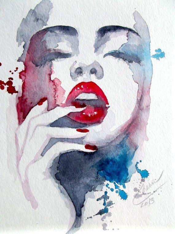 Portrait Aquarelle Moderne Aquarelle Originale Par Lanasart