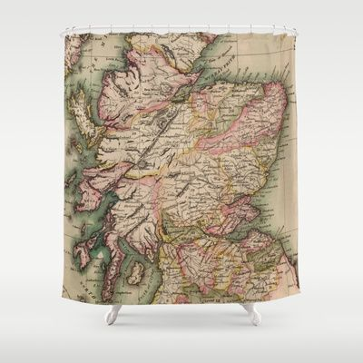 Vintage Map Of Scotland 1814 Shower Curtain