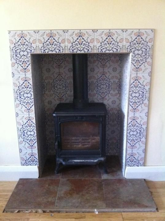 Wood Burning Stove Green Tiles Google Search Wood