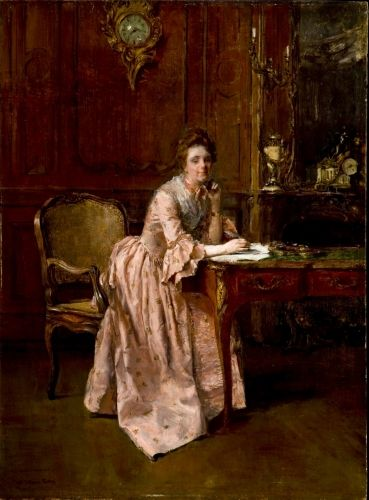 Lady at Writing Desk, c. 1890s. Oil on wood panel. Walter Gay, American, 1856–1937