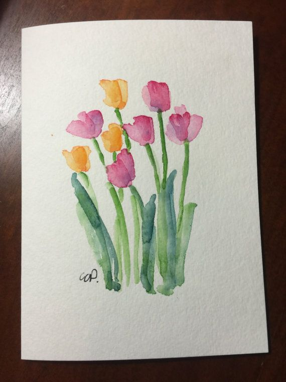 Tulips Watercolor Card Original Hand Painted Watercolor Card