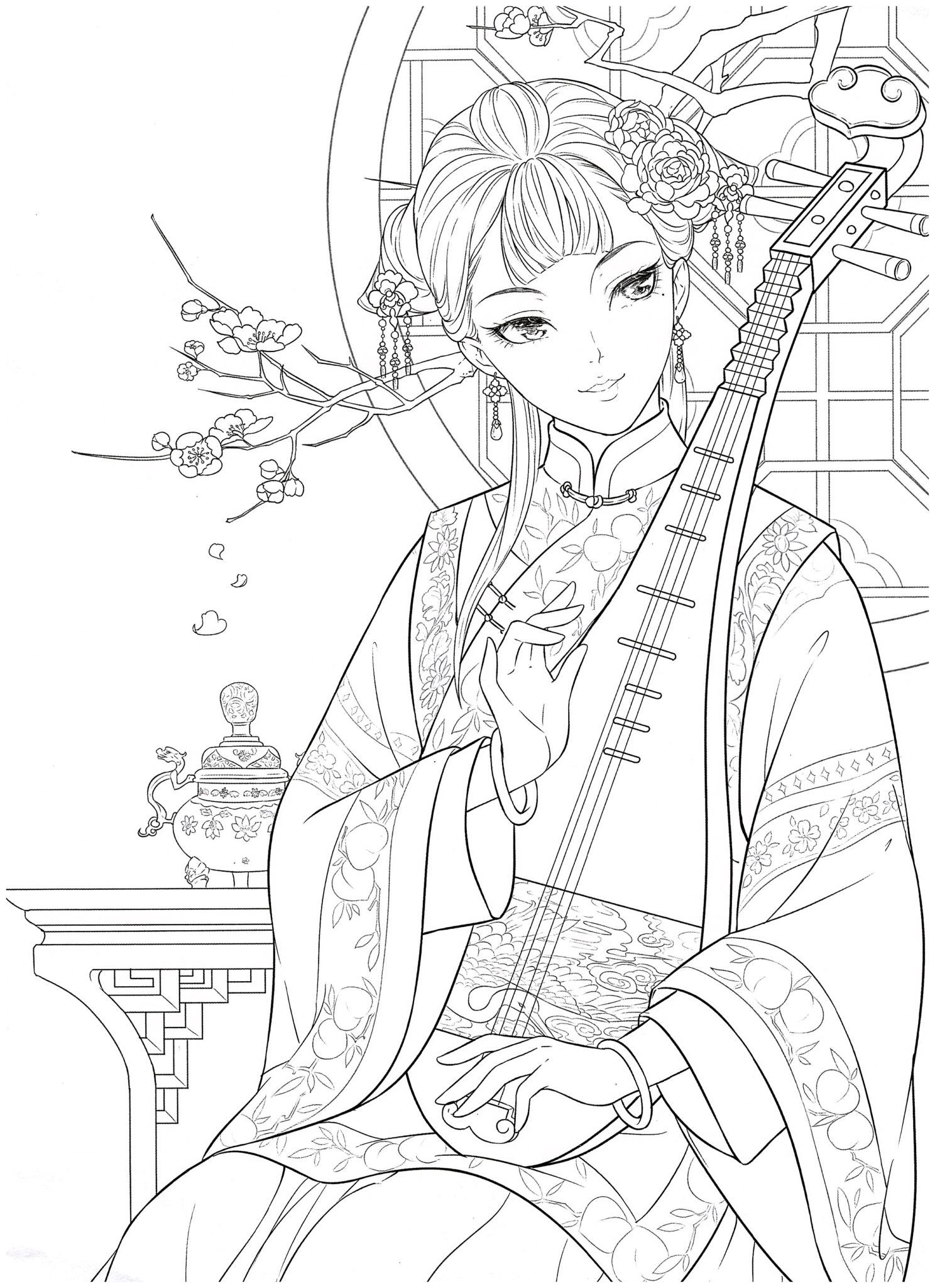 Chinese Portrait Coloring Ebook Vol 12 Kayliebooks Coloring Book Art People Coloring Pages Cute Coloring Pages [ 2048 x 1488 Pixel ]