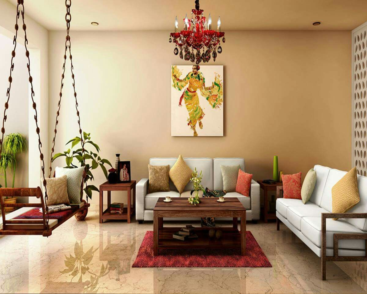Modern Yet Traditional Indian Decor Worth The Jhoola Indian Living Room Design Living Room Designs India Contemporary Living Room Design