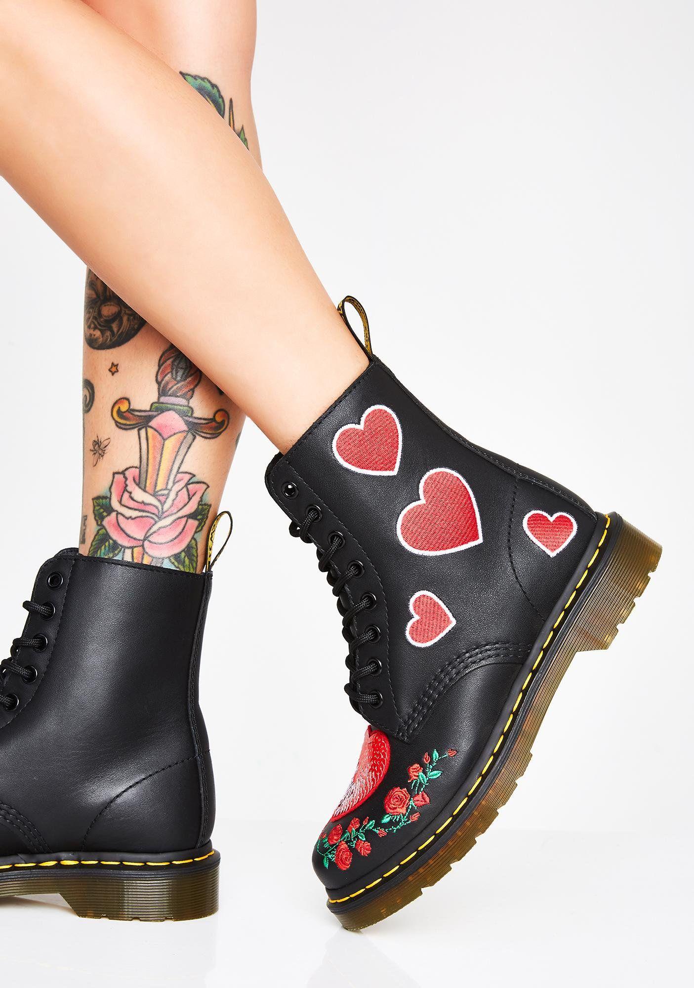 Dr. Martens 1460 Pascal Heart Boots | Boots, Velvet boots