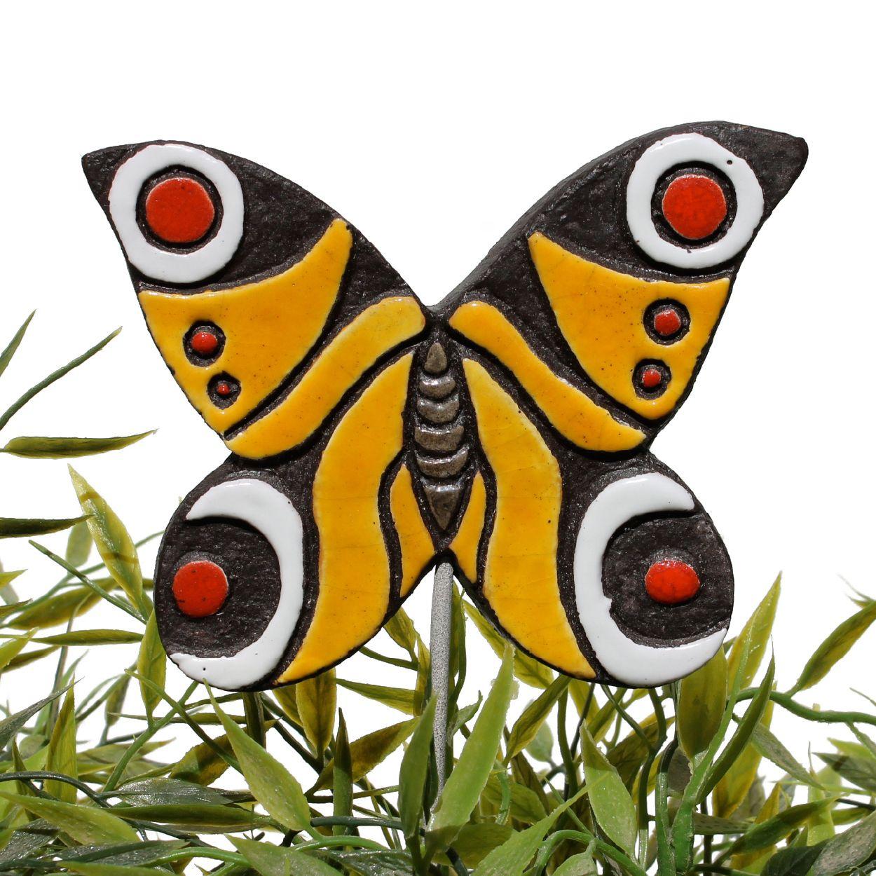 Ceramic butterfly garden art. Peacock butterfly garden decor. Yellow and red. www.gvega.com.