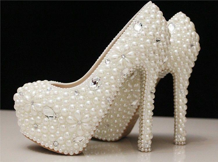 Personalizado feito elegante mulheres de salto alto plataforma de pérola e…  Sapatos De Festa, 6f933002a8
