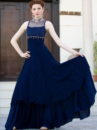 Latest Fancy Frock Style Royal Blue Color 2017