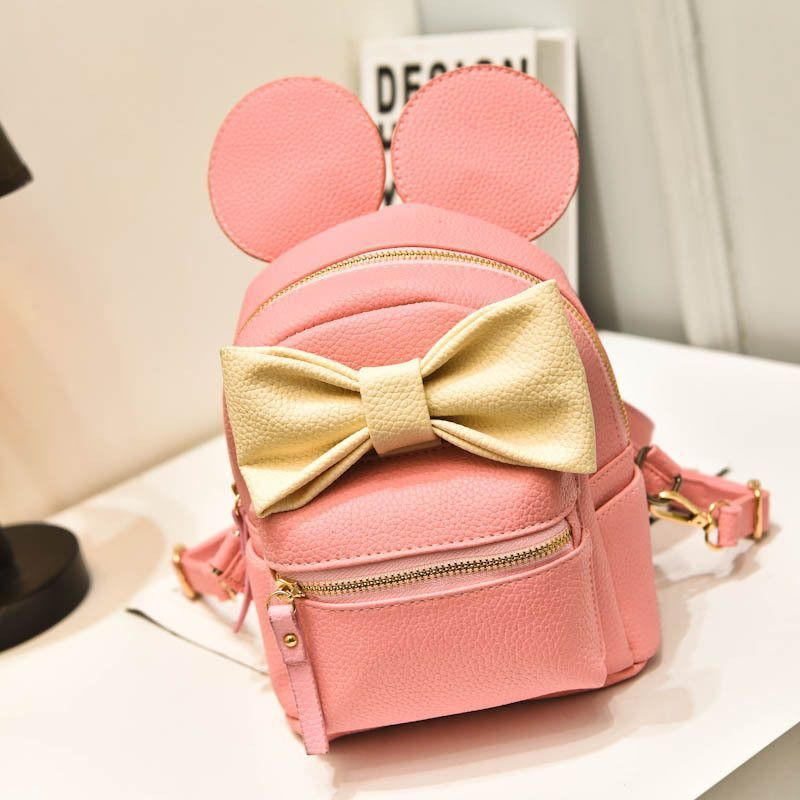 Disney Mickey Minney Mini Backpack Ears & Bow- Pink & Gold * Limited Edition