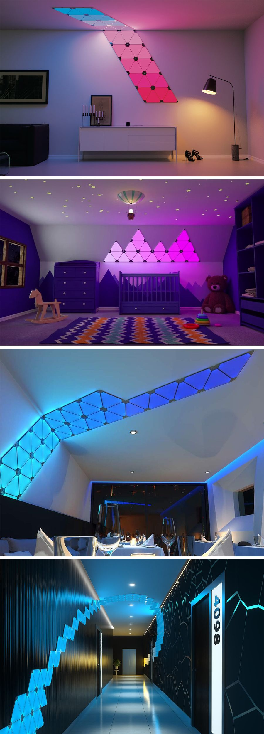 Nanoleaf Aurora Rhythm Sound is part of Game room design - Add music to your eyes with the new Aurora rhythm lights , unlike any other illumination  This lights will turn any room into a disco place  Offering you a 16 7 million variety of colours that respond to music in every second of the beat  Making your favourite tune come to life visually  T