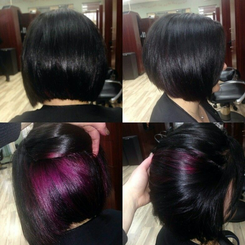 Black And Purple Peekaboo Color Hidden Hair Color Brunette Hair Color Peekaboo Hair