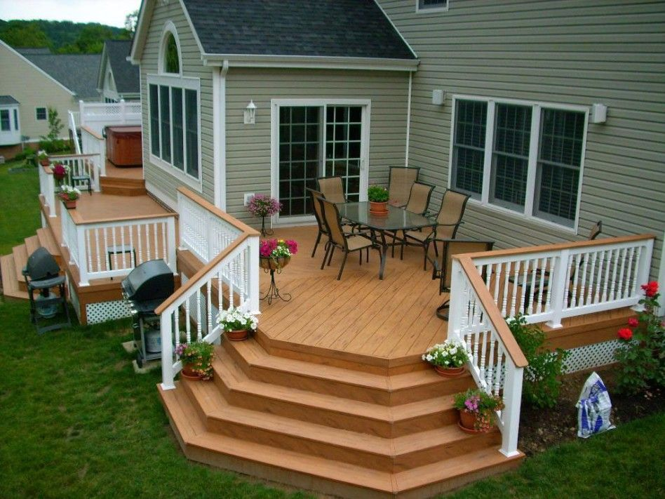 Exterior House Deck Design Featuring Clear Pine Wood Deck Floor Array And  White Classic