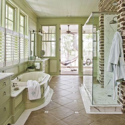 LOVE this bathroom with a connected screened sleeping porch and hammock!