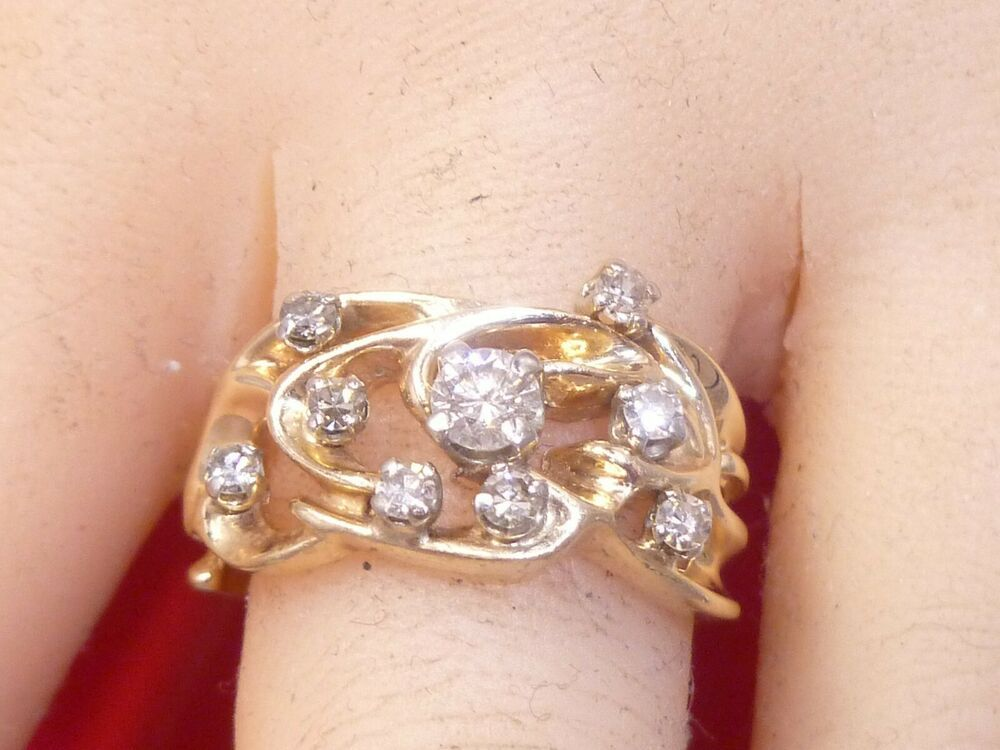 Vintage 14K Solid Gold Diamond Ring Wedding Band Prong Set 10 Diamonds Estate