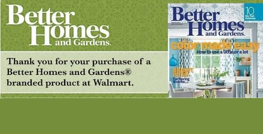 Free Better Homes & Gardens Magazine Subscription With Walmart