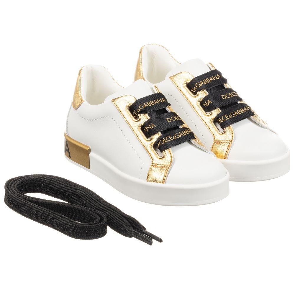 Girls white and metallic gold trainers