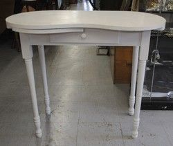 Lovely Vintage White Painted Kidney Shape Vanity Table $75.00