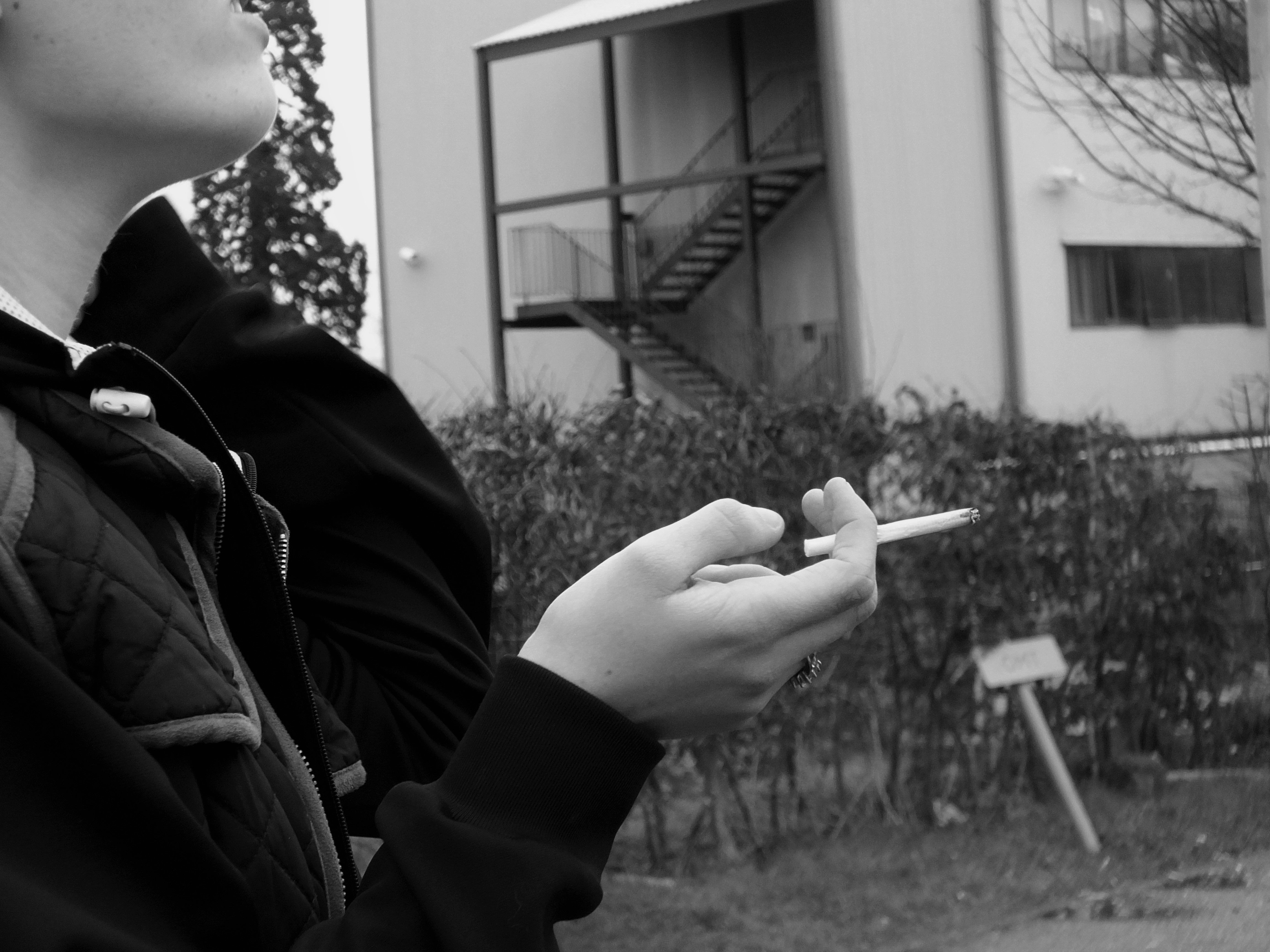 Unknown lass black and white theme smoking bad habits my