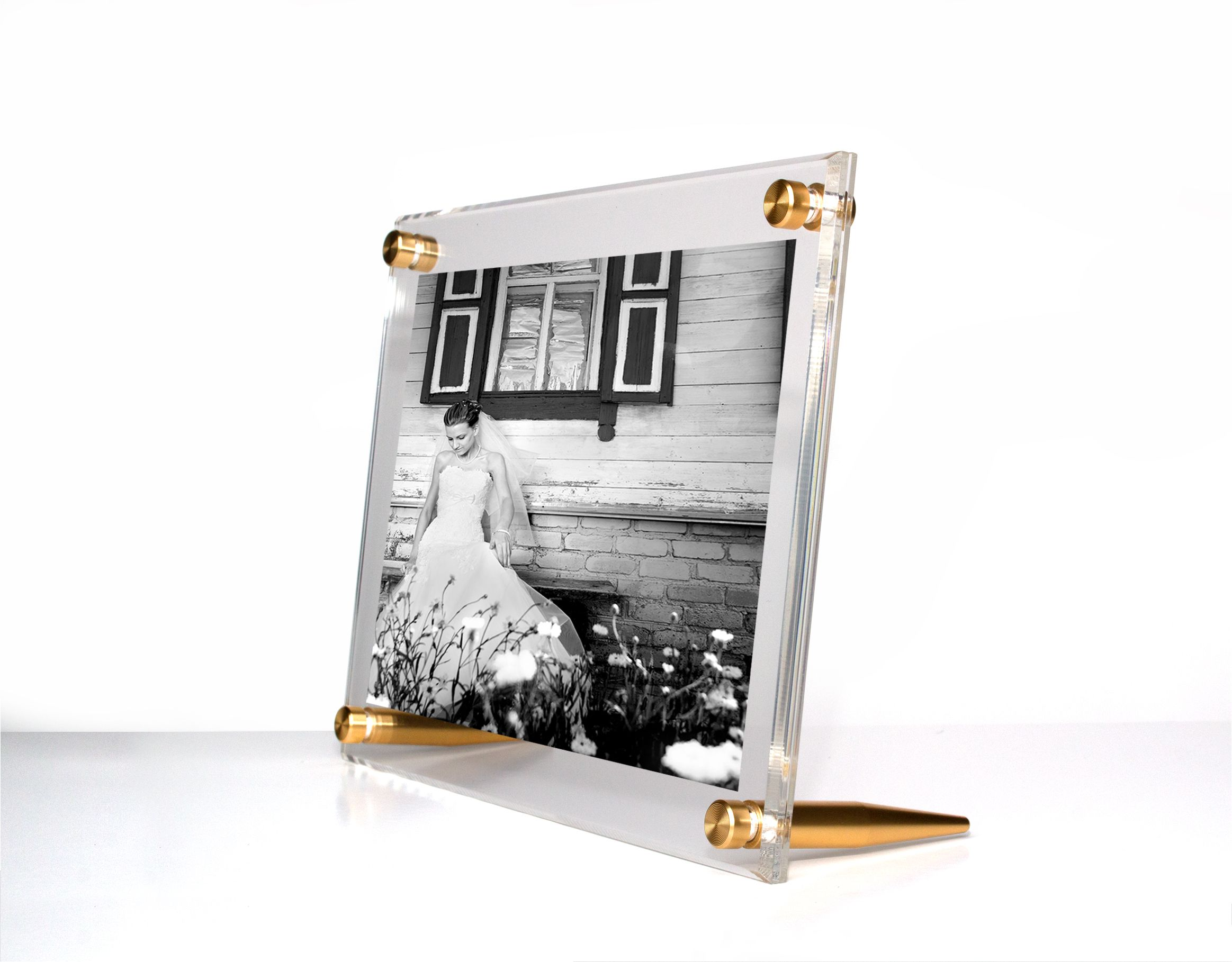 New! Acrylic Bevel TableTop Float Frame for 8x10\
