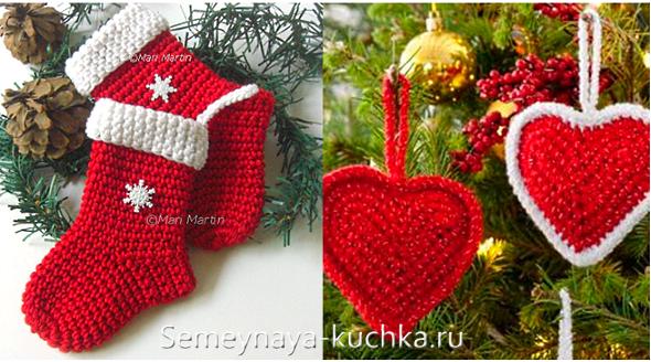 красные вязаные игрушки на елку Christmas вязание ёлки и новый год