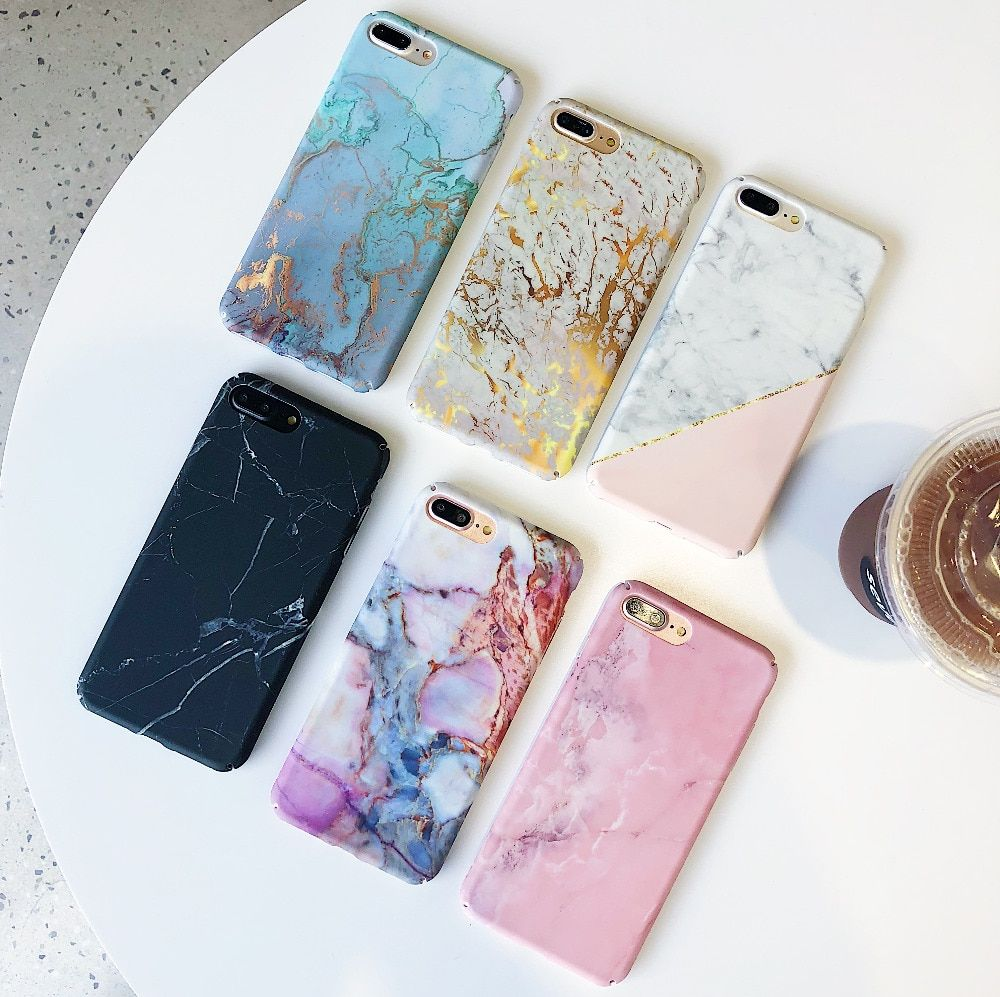 For Iphone 7 Plus Case XS MAX Gold Glossy Marble Phone Iphone8 7 6S Plus Hard PC Phone Case