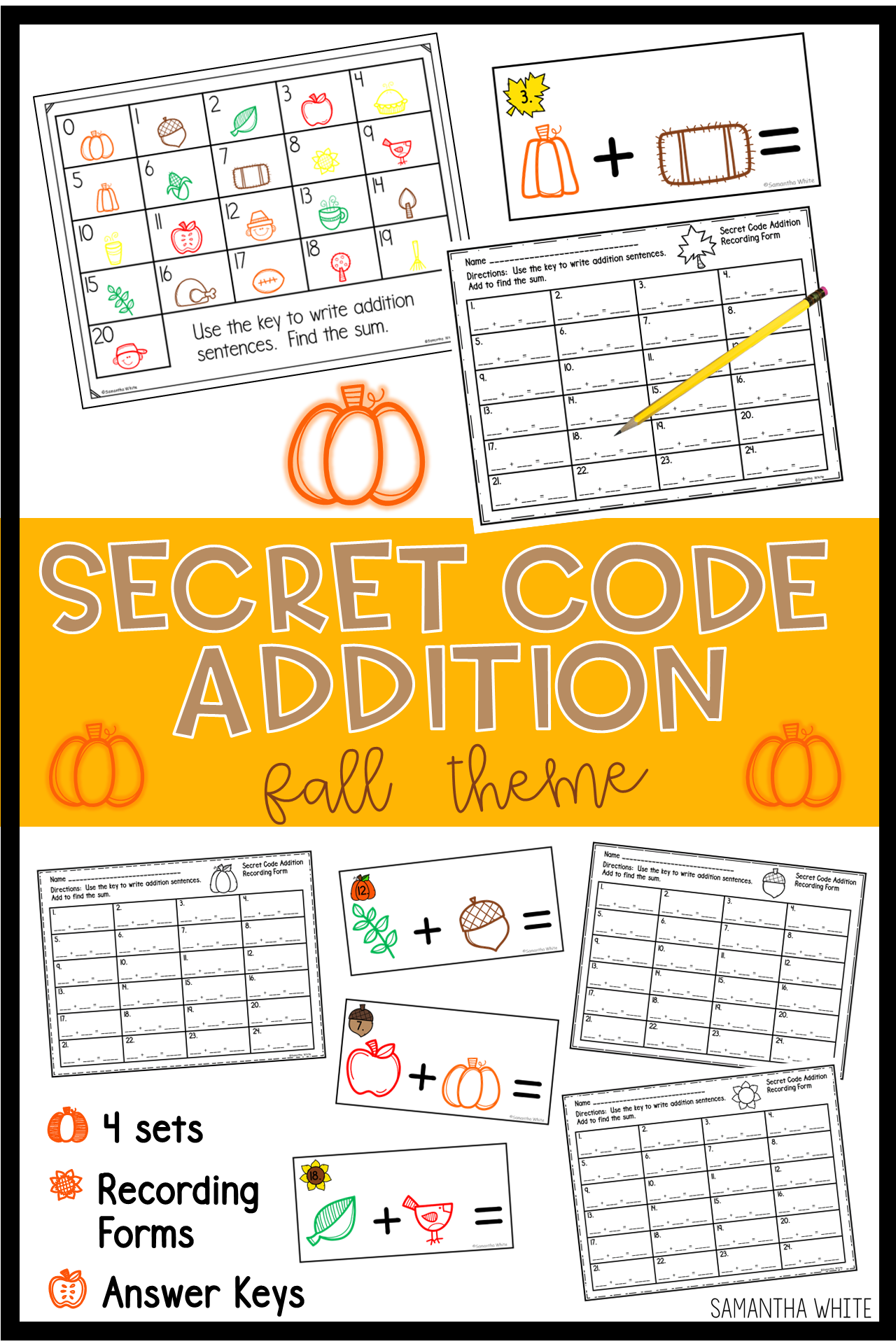Secret Code Addition Fall Theme