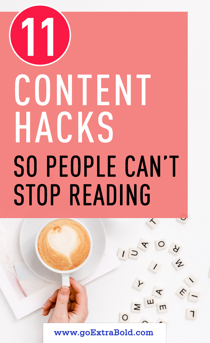 If people don't find your content engaging, nothing else will happen. They won't read your blog or sign up for your list or buy your digital products. Use these content hacks to keep people glued to your copy. #createcontent, #profitableblog, #contentbuilding, | Profitable blog | Blog Content Strategy | Content writing tips | How to write content for blog
