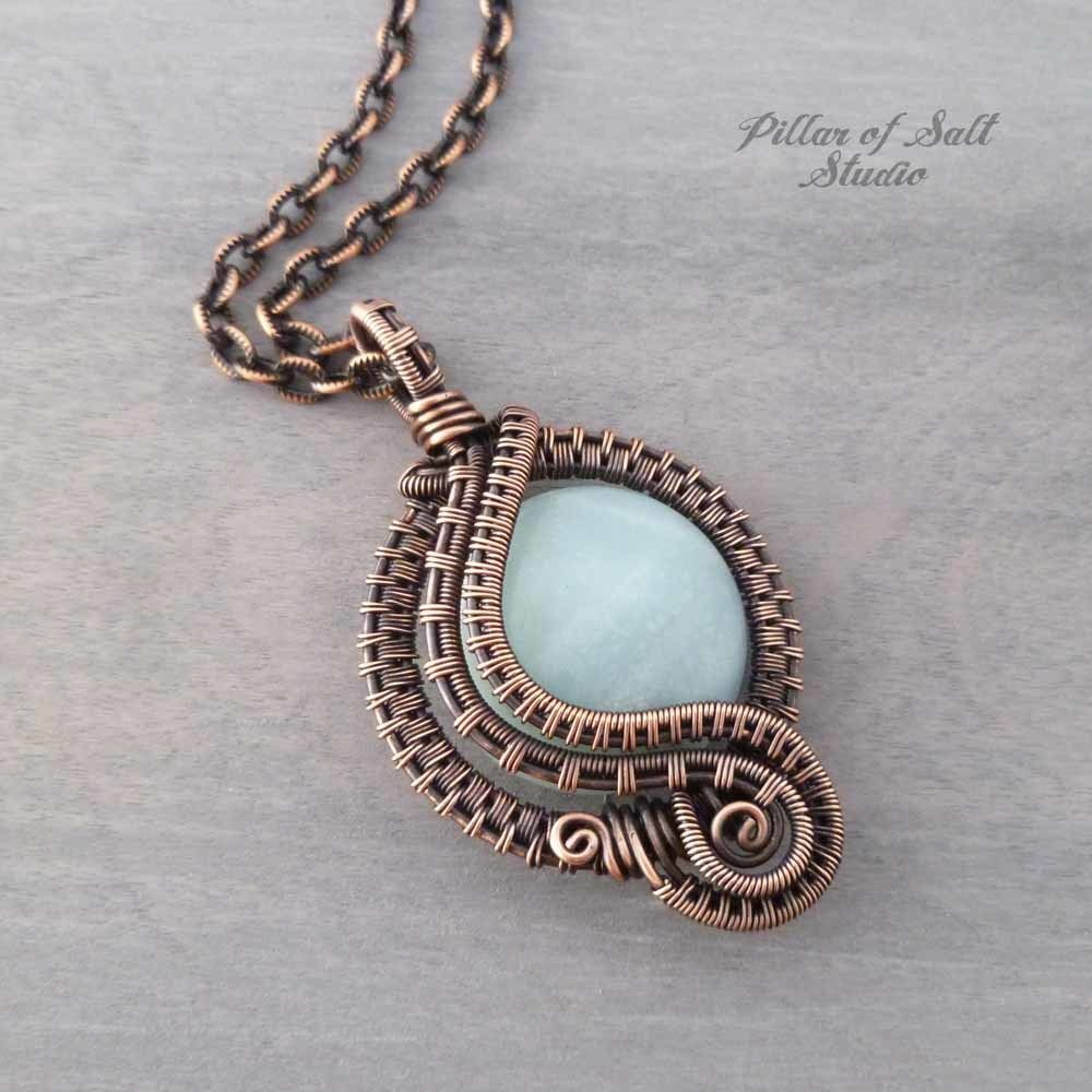 Photo of Amazonite wire wrapped pendant necklace