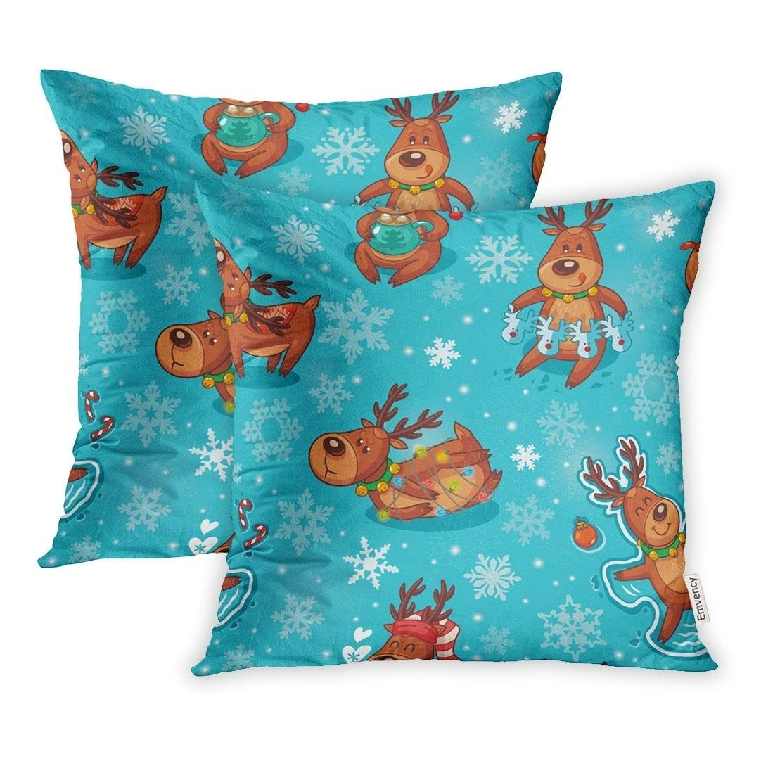 Pattern Winter Funny Deers Characters and Snowflakes Childish Kid Pillow