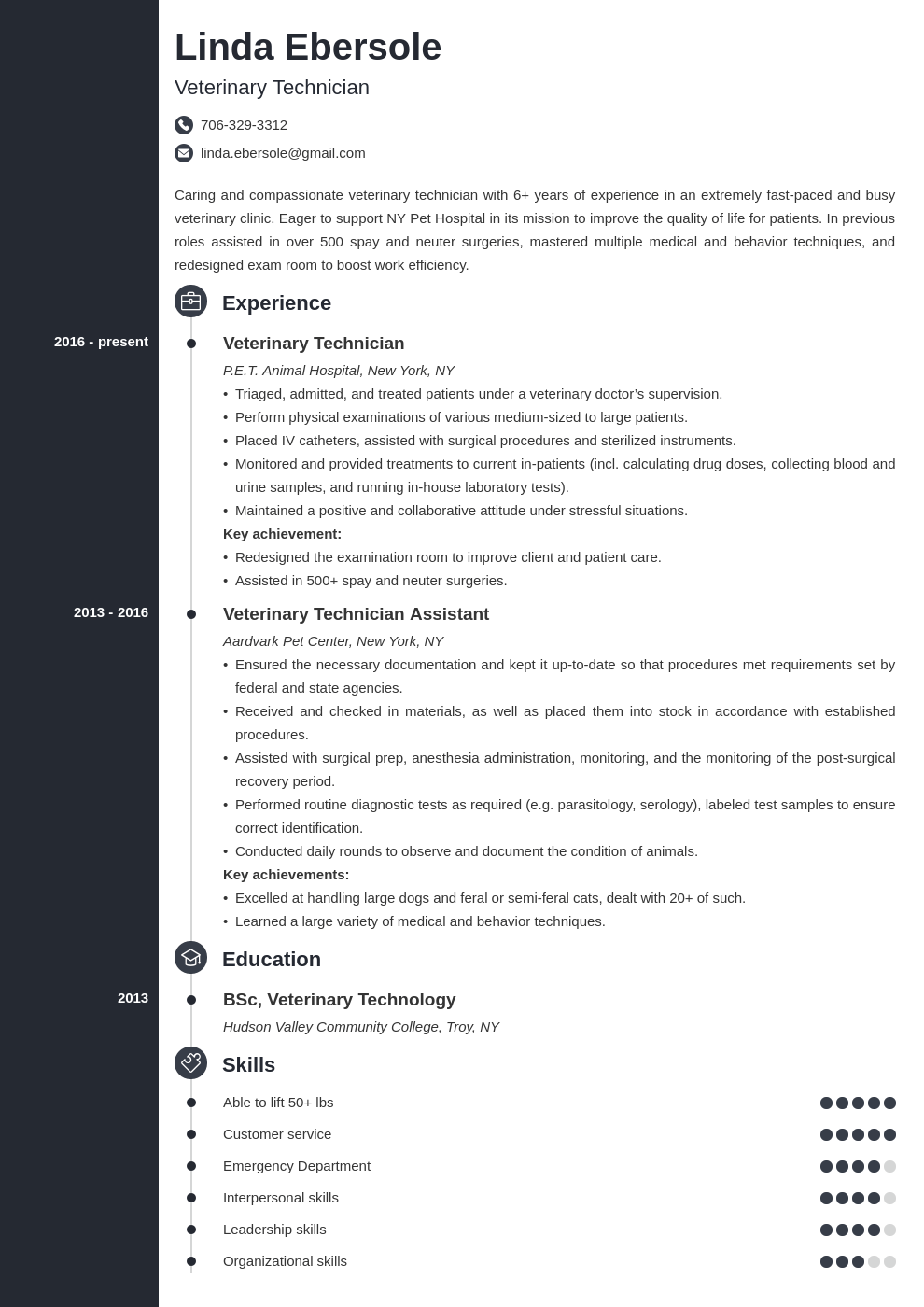 veterinary technician resume example template concept in