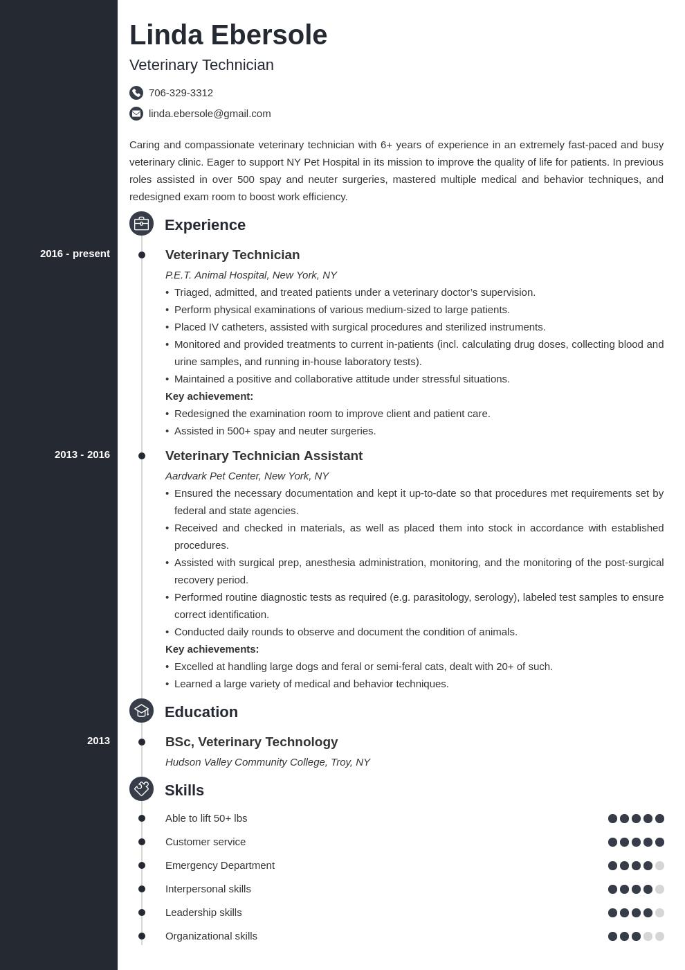 veterinary technician resume example template concept in
