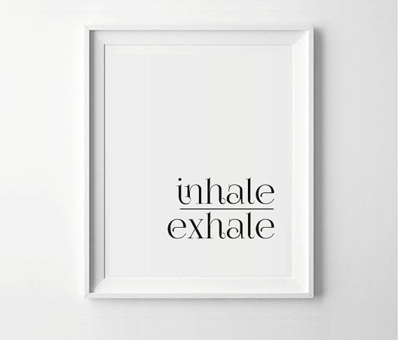 Inhale exhale art print yoga poster black white yoga by printymuch