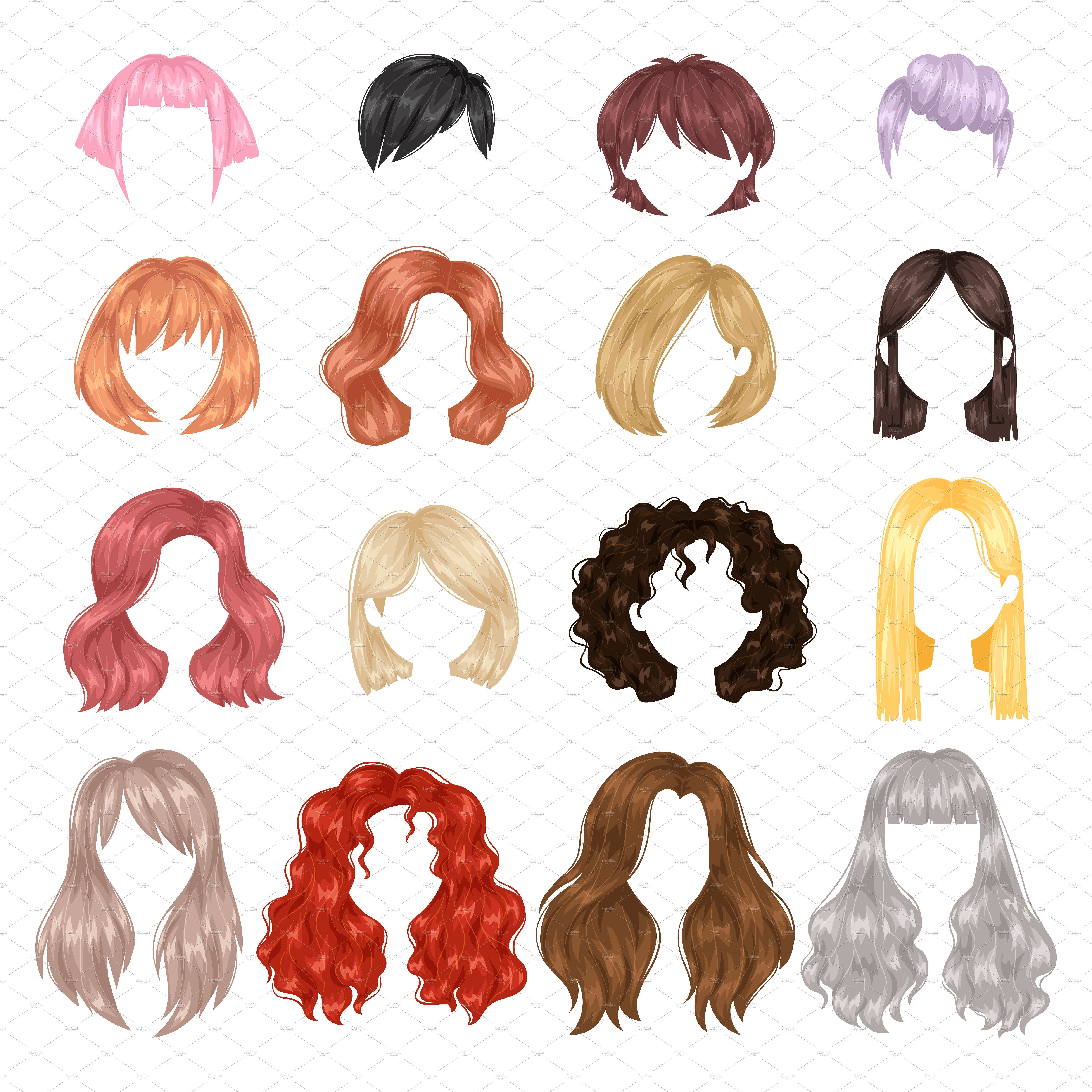 Vector Woman Hairstyle Portrait Hairstyle Straight Woman How To Draw Hair Womens Hairstyles Hair Sketch