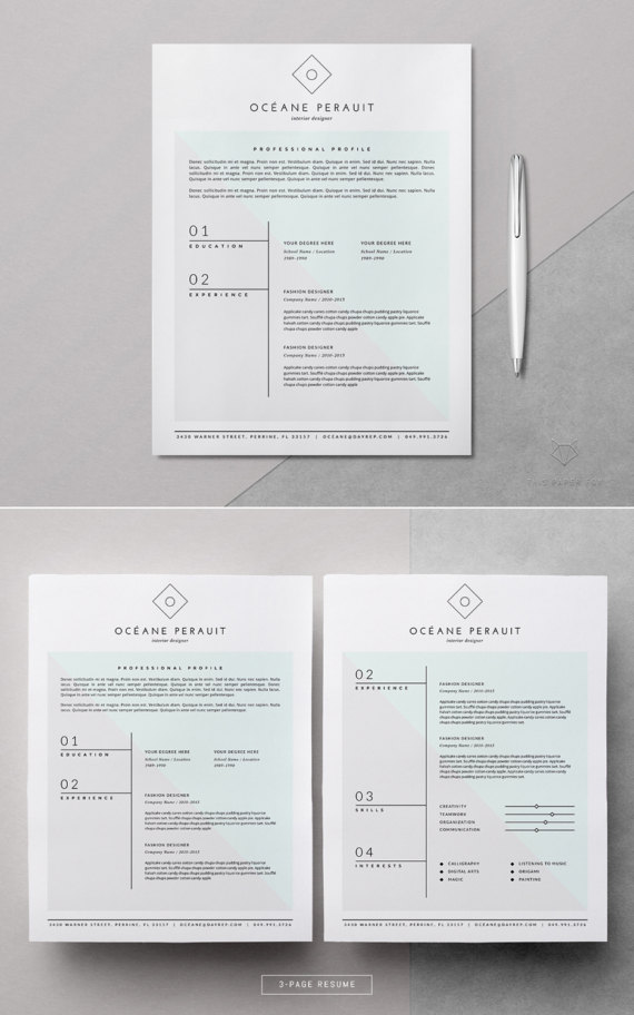 Resume Template _ 4pk Resume Template for MS Word  iWork Pages _