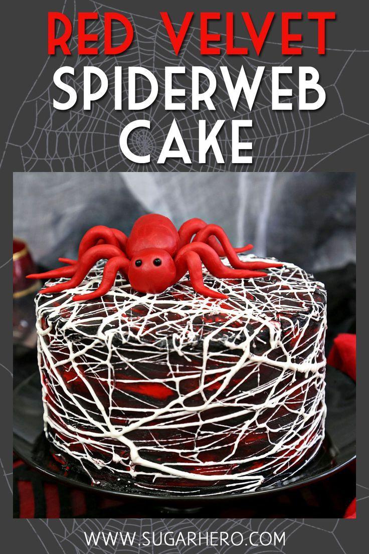 Roter Samt-Eibisch-Spiderweb-Kuchen   - Backrezepte - #Backrezepte #Roter #SamtEibischSpiderwebKuchen #cakesanddeserts