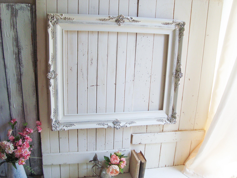 Antique White Large Vintage Frame Shabby Chic Cream Frame Wedding Frame Rustic Vintage Decor Cottage Chic Decor Frame Decor